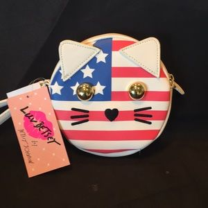 Betsey Johnson NWT Patriotic Cat Wristlet